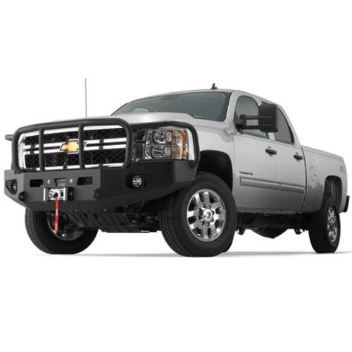 1-Piece Direct-Fit Grill Guard With Winch Mount Textured Black Steel - 95220