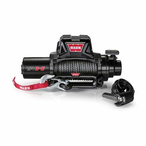 Vehicle Mounted Vehicle Recovery Winch 12 Volt 8000 LB Cap 90 Ft Synthetic Rope - 96805