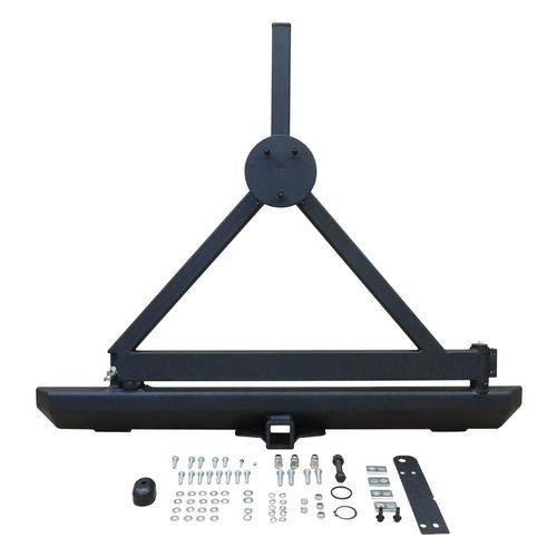 Black Textured Steel Rear Bumper w/ Tire Carrier & Receiver for Jeep TJ & YJ - RT20005