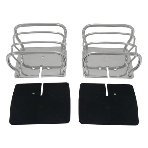 Stainless Steel Euro Tail Lamp Guards for 76-86 CJ-7, CJ-8, YJ, TJ Wrnglrs; L,R - RT34090