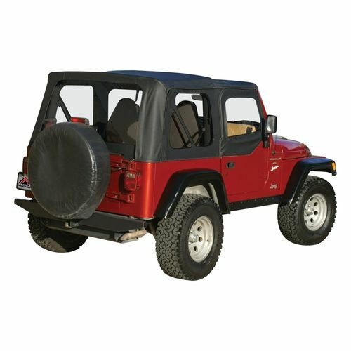 Black OEM Replacement Soft Top for 1997-06 TJ Wrangler w/ Soft Upper Doors - RT10315