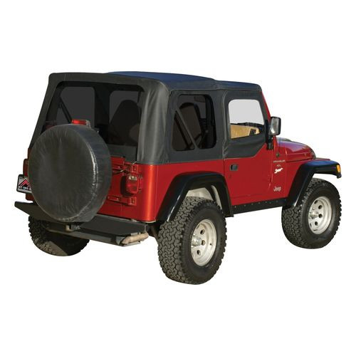 Black OEM Replacement Soft Top for 1997-06 TJ Wrangler w/ Soft Upper Doors - RT10335T
