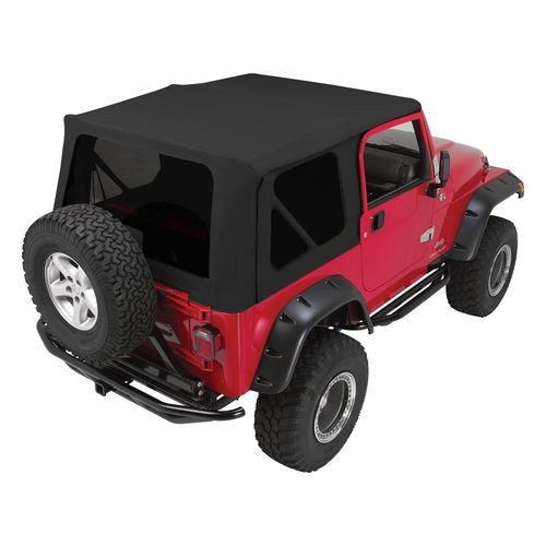 Black OEM Replacement Soft Top for 1997-06 TJ Wrangler w/ Full Steel Doors - RT10435T