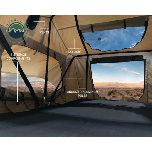 Roof Top Tent 3 Person with Green Rain Fly TMBK Overland Vehicle Systems - 18019933