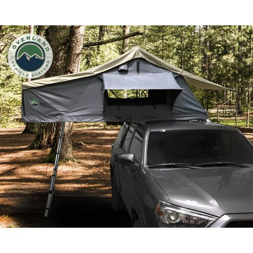 Roof Top Tent 2 Person Extended Roof Top Tent Dark Gray Base With Green Rain Fly With Bonus Pack Nomadic Overland Vehicle Systems - 18029936