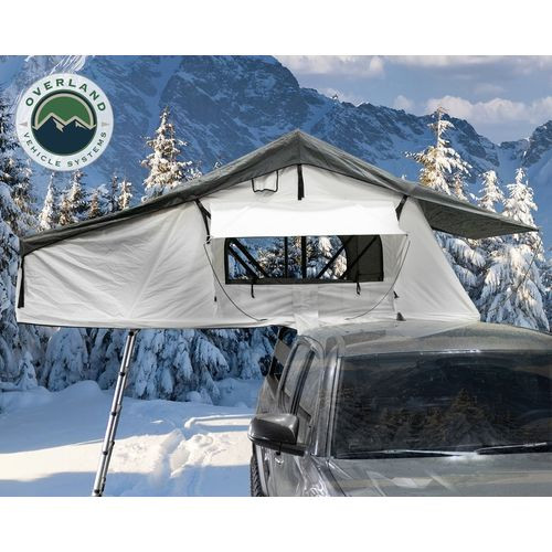 Roof Top Tent Extended 3 Person Roof Top Tent White Base/ Dark Gray Rain Fly Black Cover Nomadic Arctic Overland Vehicle Systems - 18039926