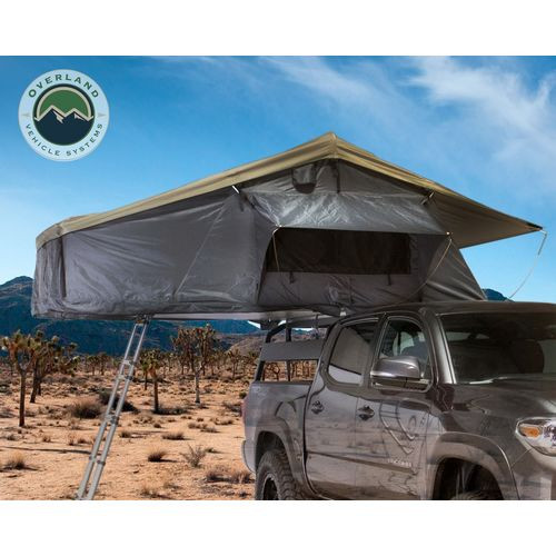 Roof Top Tent 3 Person Extended Roof Top Tent Dark Gray Base With Green Rain Fly With Bonus Pack Nomadic Overland Vehicle Systems - 18039936