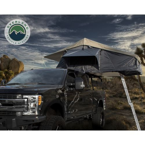 Roof Top Tent 4 Person Extended Roof Top Tent Dark Gray Base With Green Rain Fly With Bonus Pack Nomadic Overland Vehicle Systems - 18049936
