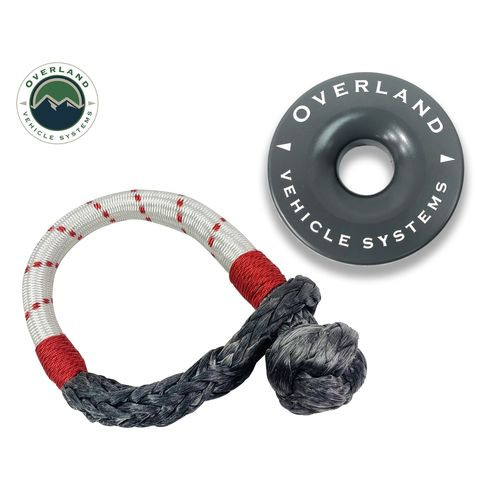 23 Inch Soft Shackle 7/16 Inch Diameterќ Combo Pack 41,000 lb and 4.0 Inch Recovery Ring Overland Vehicle Systems - 19-4716
