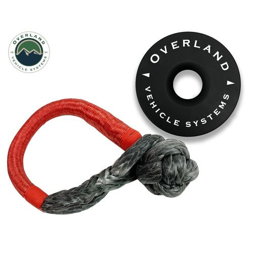 23 Inch Soft Shackle 5/8 Inch Diameter Combo Pack 44,500 lb and Recovery Ring 6.25 Inch Black Overland Vehicle Systems - 19-6580