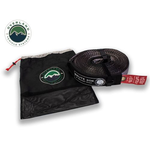 Tow Strap 20,000 lb 2 Inch x 30 Foot Gray With Black Ends & Storage Bag Overland Vehicle Systems - 19059916