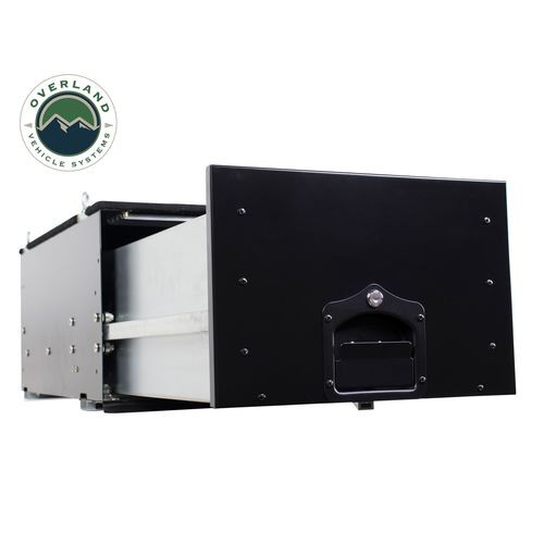 Cargo Box With Slide Out Drawer Size Black Powder Coat Universal Overland Vehicle Systems - 21010301-HYDZ