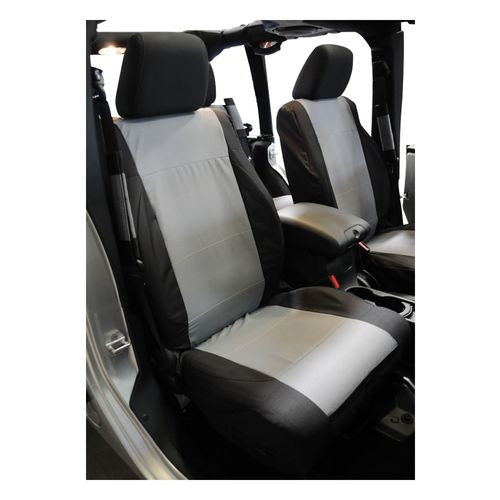 Front Polycanvas Seat Covers, Black/Gray for 2007-2010 Jeep JK Wrangler - SC30021