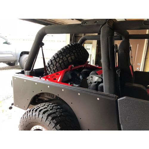 Jeep TJ Tire Carrier 97-06 Wrangler TJ Unlimited Classic Gatekeeper Hi Lift Mounts and Accessory Panel Excessive Industries - EI302312-HVLM