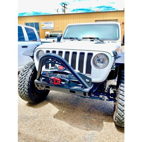 Jeep JL/JLU/JT Front Stubby Bumper With Stinger, Fair Lead and Fog Light Cutouts 18-Present Wrangler JL/JLU and JT 2/4 Door Comp Series Excessive Industries - EI601613257-HVLM