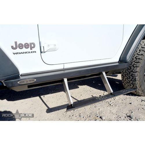 Jeep JL Side Step Sliders For 18-Pres Wrangler JL 2 Door Models Set Rock Slide Engineering - BD-SS-200-JL2-FTKV