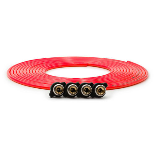 Tire Inflator Hose Replacement 240 Inch W/4 Quick Release Chucks Red UP Down Air - 340-4100-RED