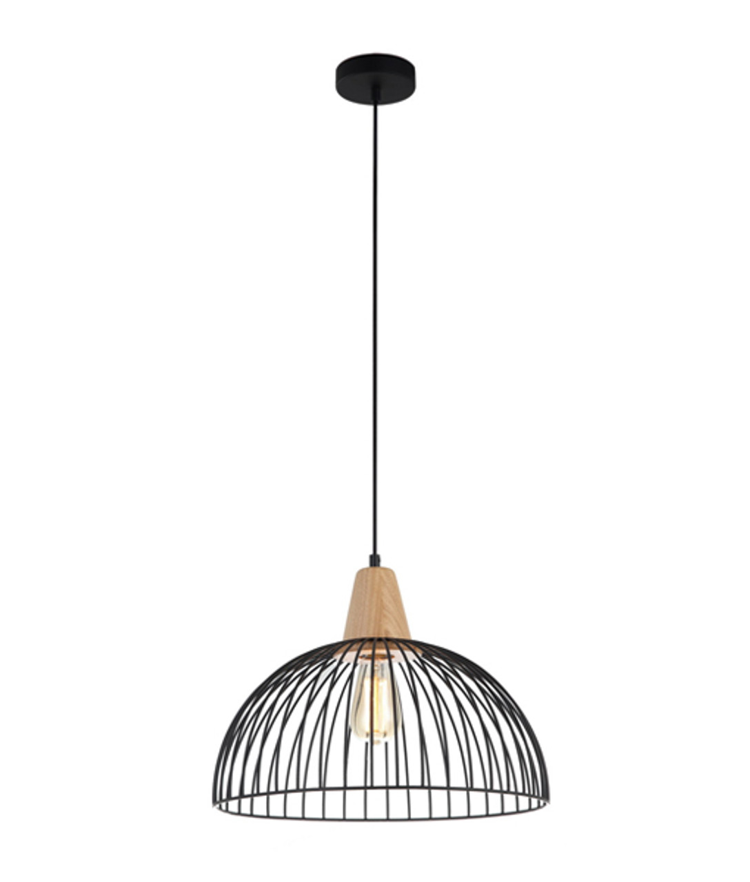 Wood Dome Cage Pendant lights Strand1