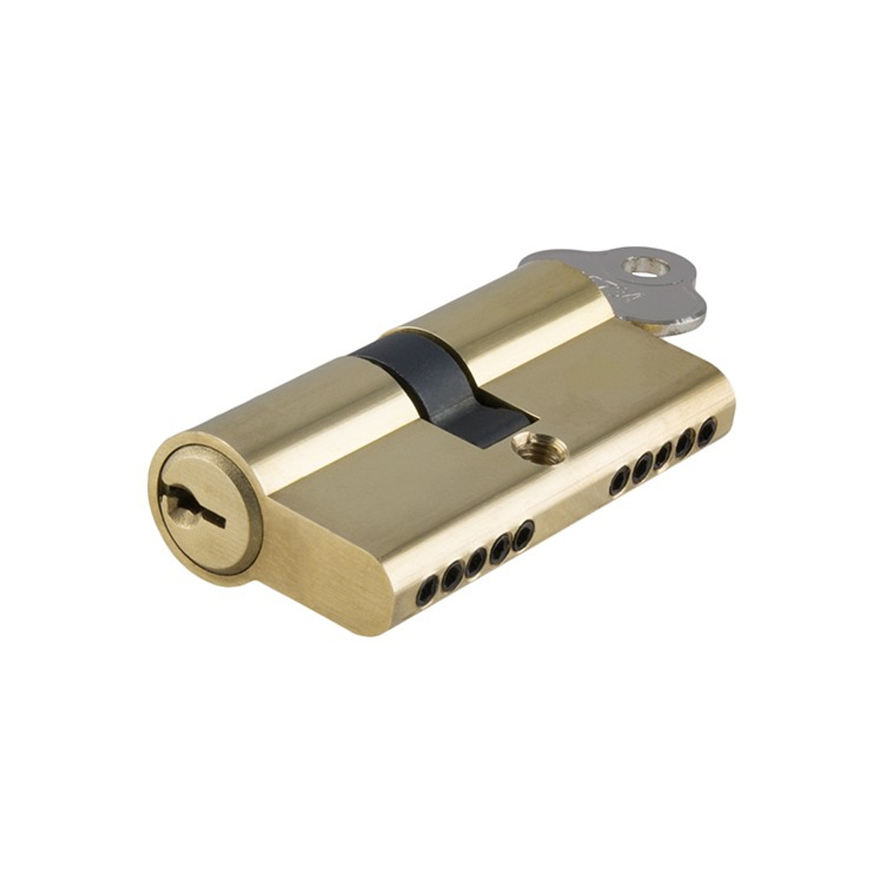 Tradco Double Euro Cylinder 60mm 5 Pin Polished Brass 2045