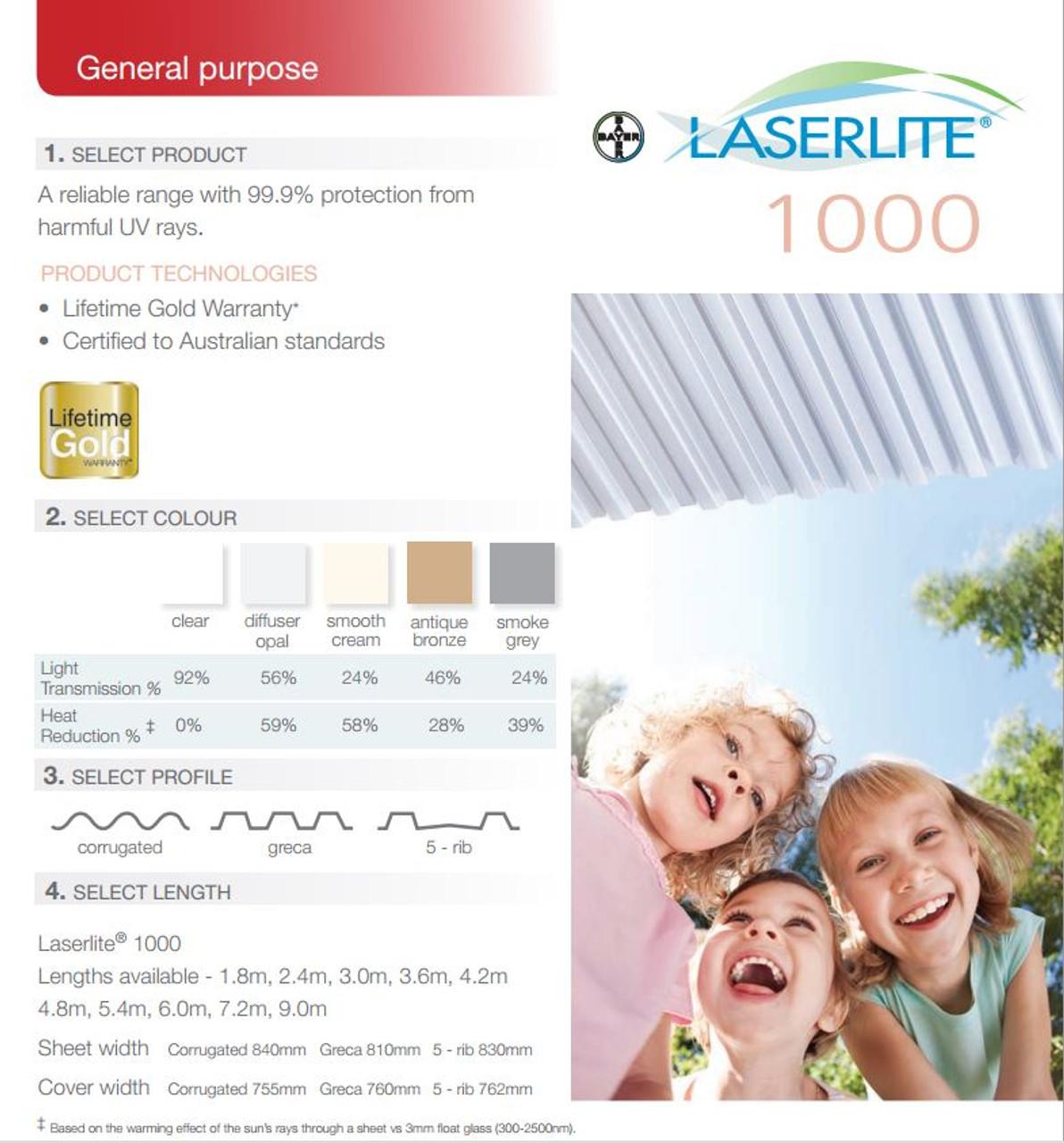 Laserlite 1000 5-Rib Polycarb Roofing Standard per L/M