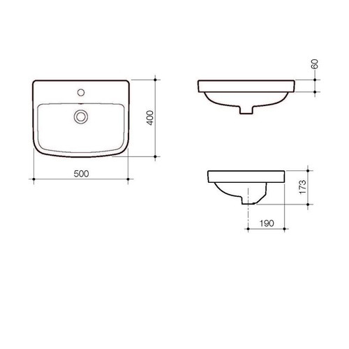 Caroma Urbane Inset Basin with overflow