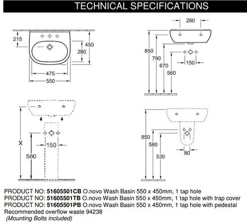 Villeroy & Boch Onovo Wash Basin 550 X 450MM 51605501PB