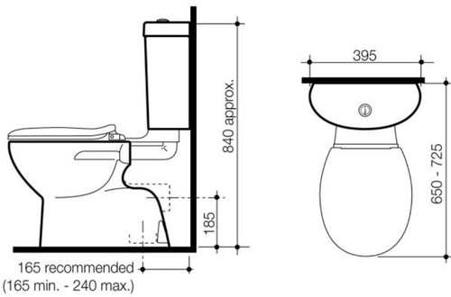 Caroma Profile Tempo S Trap Link/ Connector Toilet Suite 924065W