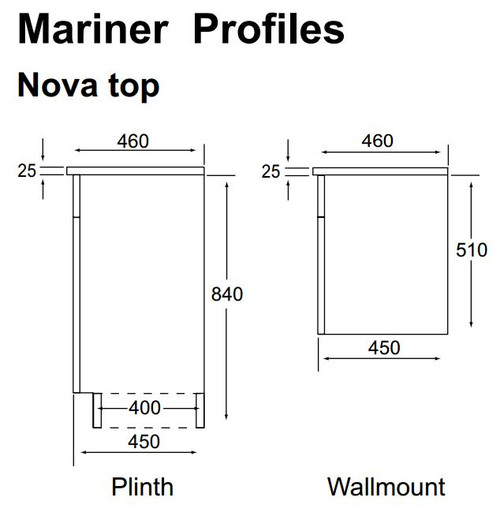 Marquis Mariner 11 Vanity 750MM On Kick Nova Top Two Drawers With Fingerpulls
