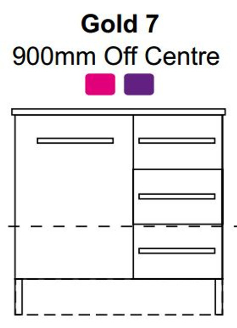 Marquis Gold 7 900MM Off Centre Basin Wall Mount 1 Door 2 Drawers With Flat D Handles