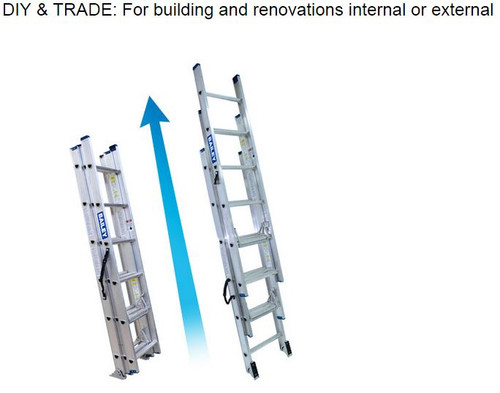Bailey Extension Ladder Aluminium 135kg 2.0-4.1m Domestic Triple Leaf FS13557