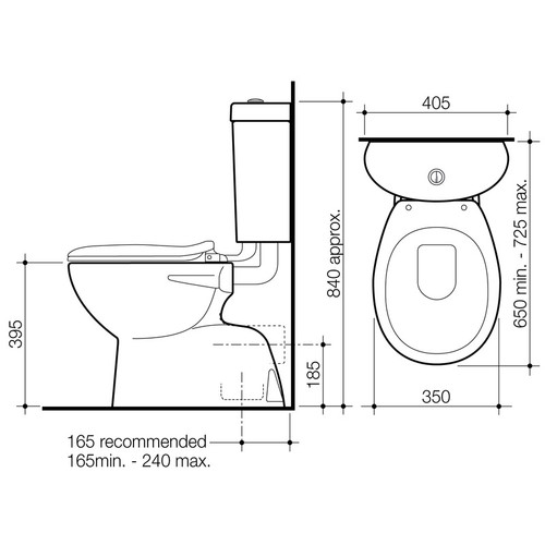 Caroma Profile 4 Trident Connector S Trap Toilet Suite 912413W