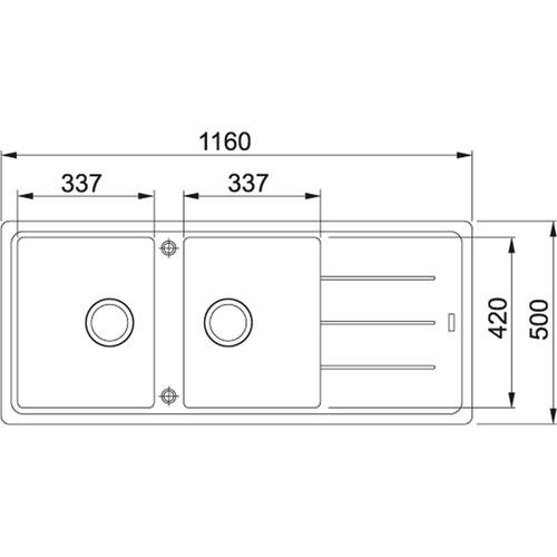 Franke Basis Double Bowl Sink Reversible BGF621