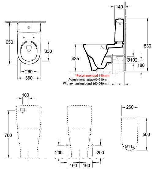 V&B O.novo 2.0 Back To Wall Toilet Suite With Thick Seat 4606R101S4DB