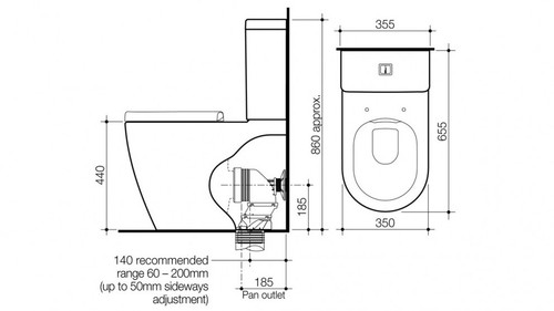 Caroma Urbane Cleanflush Wall Faced Toilet Suite 746200W