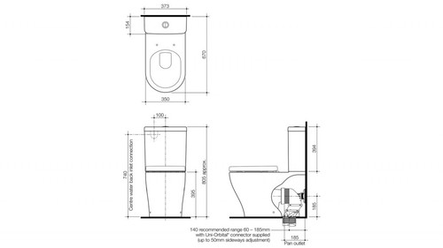 Caroma Luna Wall Faced Toilet Suite 829710W
