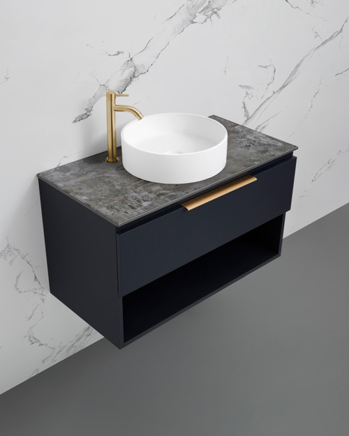 Marquis Oxford 3 900mm Wall Mounted Vanity Ultramatt Finish Dekton Top with Regio Basin and Brushed Brass Handle OX0390WCA