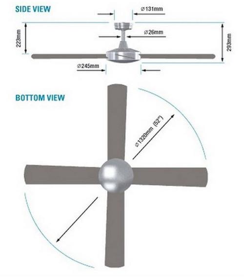 HPI Intercept Ceiling Fan White 52 Inch No Light HPI300