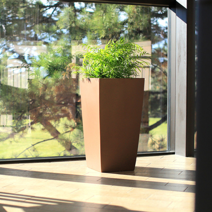 Toulan Tapered Tall Square Planter (Brown)