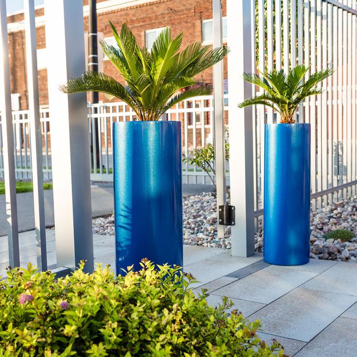 Corry Tall Cylinder Planter Pot (Metallic Blue)