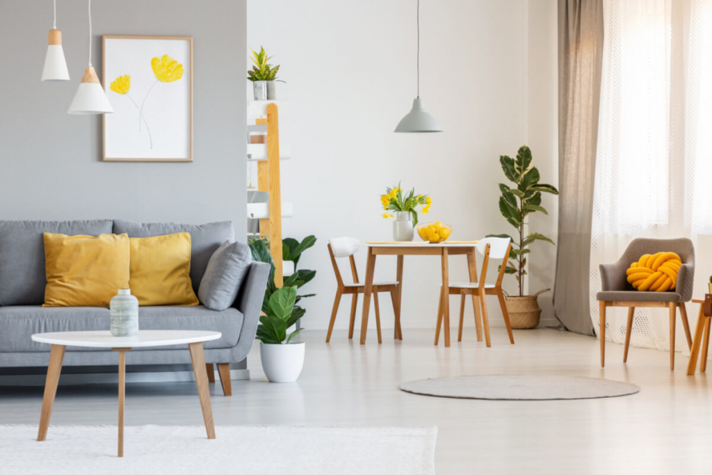 Living and dining rooms with indoor plants