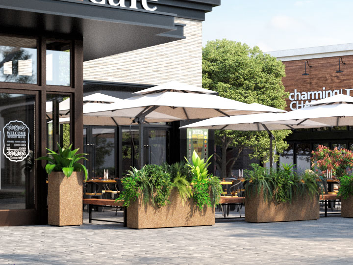 cafe with planters