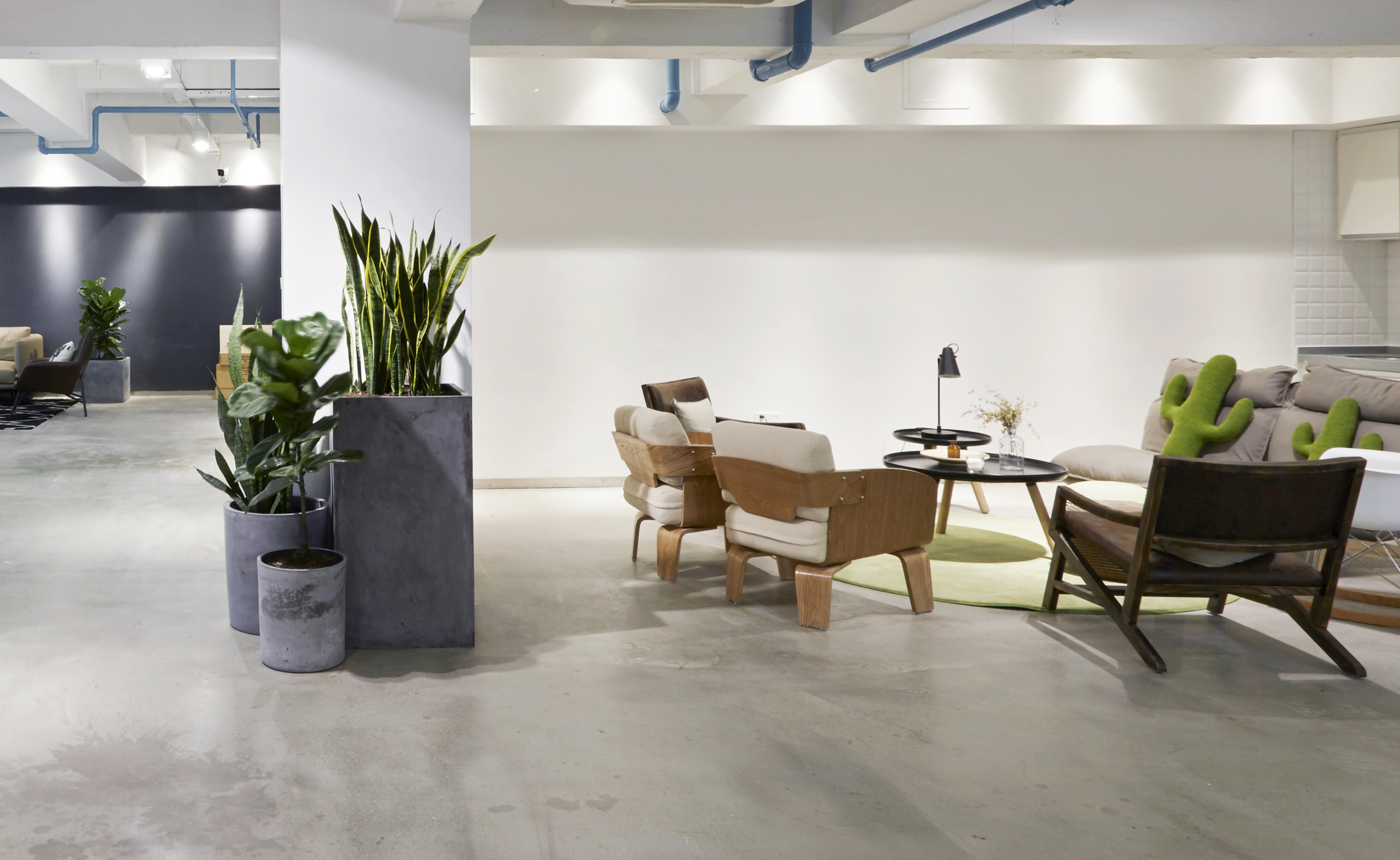 office space with planters