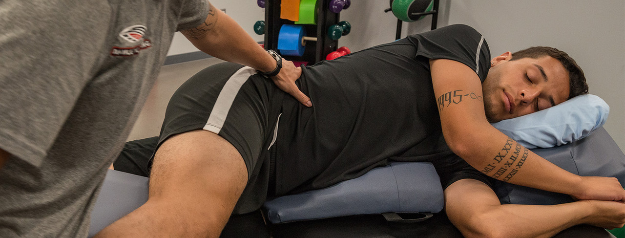 When side-lying on the bodyCushion the shoulder is free of supporting pressure, the spine is aligned, and the head resting comfortably on the Chest Support.