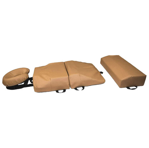 The 4-Piece Original bodyCushion Vinyl Replacement Set includes: the Face Crescent (Foam & Vinyl), Chest Support Vinyl, Pelvic Support Vinyl, and Leg Support Vinyl (choice of 1-Piece or Split Leg). Pictured with the 1-Piece Leg Support. Please note: This item does not include the foam cushions for the Chest, Pelvic, and Leg Supports.