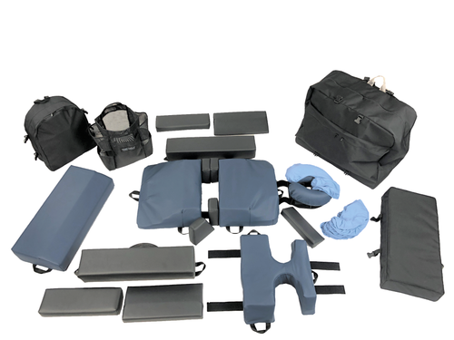 The Full Pro Plus+Plus System includes the 4-Piece bodyCushion with both standard Chest Support and the breastProtector (not shown), the Adjuster Caddy Set, bakPak, Adjuster Clip-on Tote, Set of 8 Face Crescent Covers, armRests, and armRest Clip-on Tote.