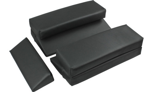 The Large Wedges elevate the pelvis to decompress the spine, allow more elevation for larger frames, and more abdominal space for pregnancy; the Rectangular Adjusters provide increased lumbar support and decompression as well as a deeper abdominal recess; and the Small Wedge is used for varying flexion, extension and rotation of the cervical spine.
