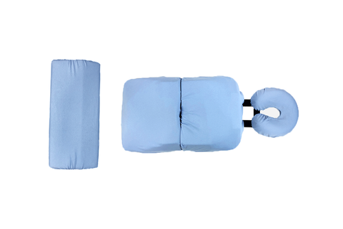The 4-Piece bodyCushion Cotton Cover Set includes cotton covers for the Face, Chest, Pelvic, and Leg Supports. Pictured with the Split Leg Support Covers.