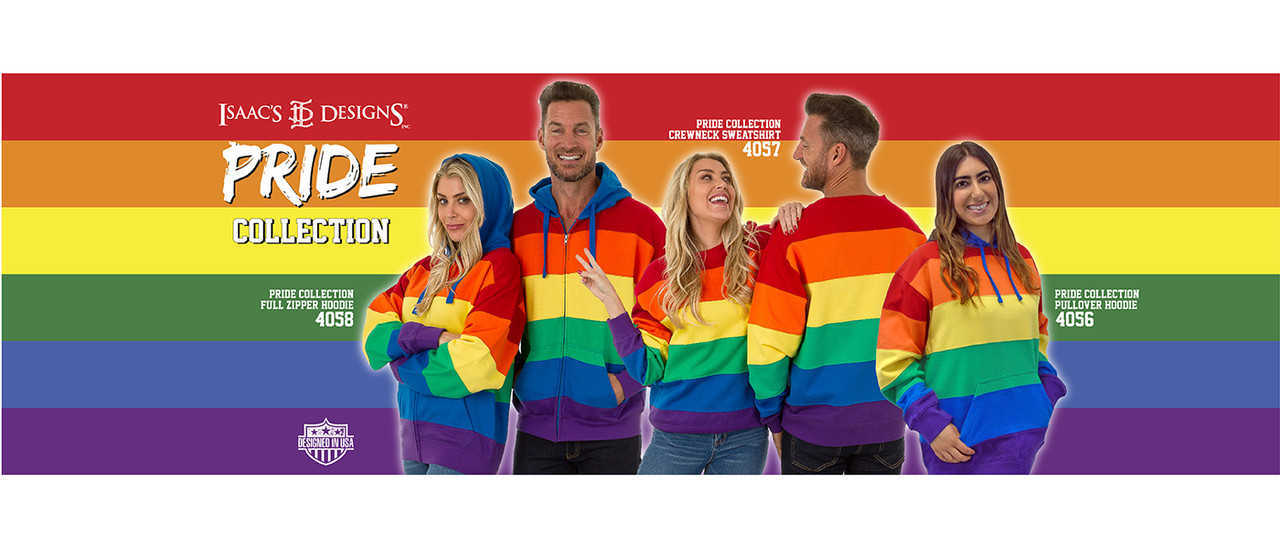 PRIDE Collection - Full-Zipper Hoodie (4058), Crewneck Sweatshirt (4057), and Pullover Hoodie (4056)