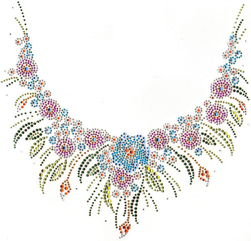 """Colorful Floral Scoop Neckline"" Iron-On Design (S5407)."