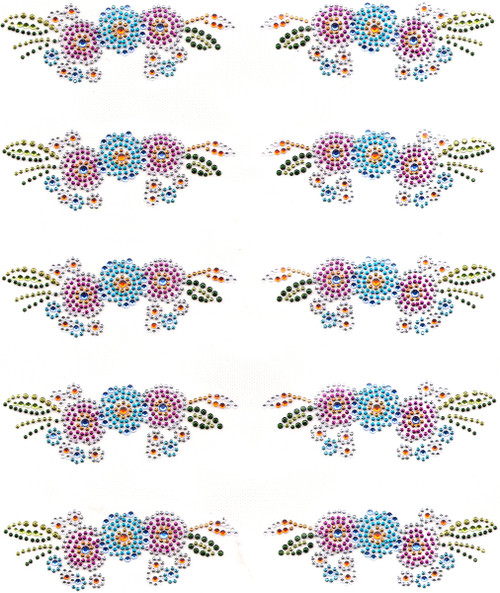 """""""Colorful Floral Left & Right Pocket Piece"""" Iron-On Design (S9097)."""